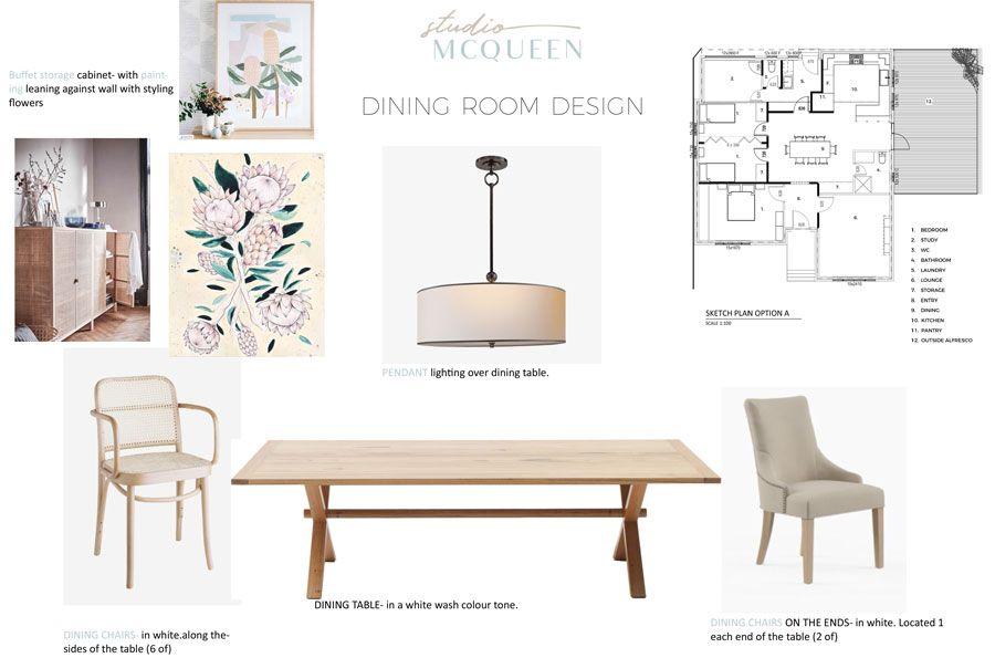Interior Design Scheme by Studio McQueen| Dining Room | Contemporary Australian Design | Sustainable Interior Design |