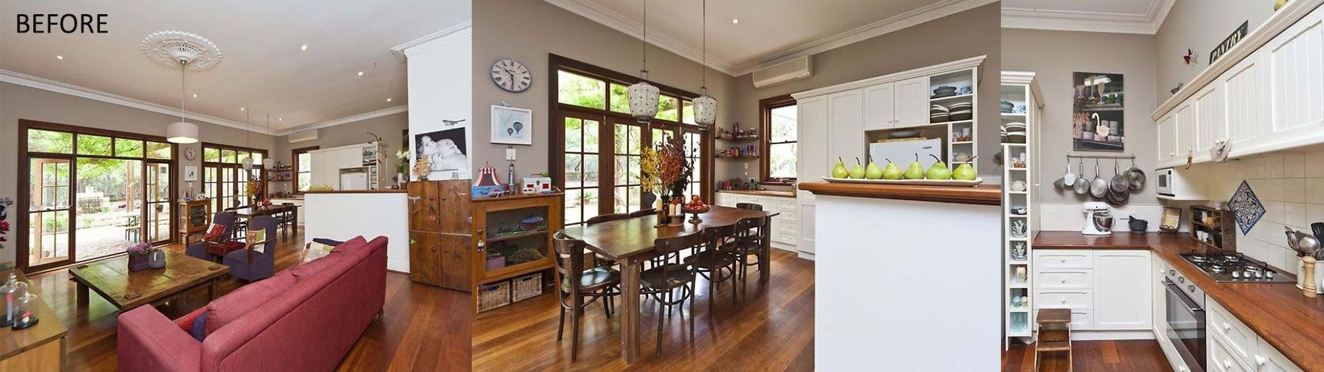 The boho refined cottage | Existing Kitchen and dining space | renovation perth Small home Renovations Perth | Studio McQueen | Melinda McQueen interior designer and architectural designer